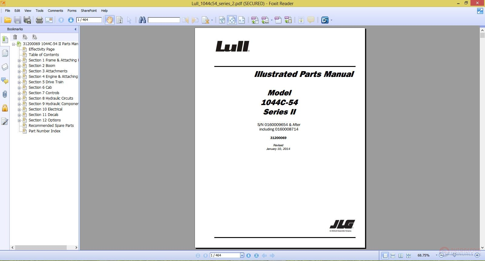 jlg lull 1044c 54 series ii illustrated parts manual auto repair jlg lull 1044c 54 series ii illustrated parts manual size 26 2mb language english type pdf pages 464