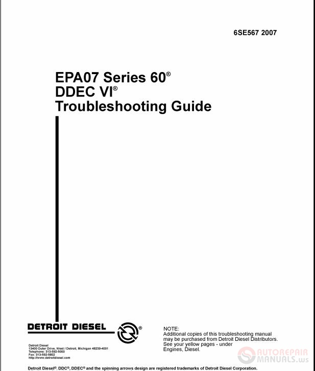 Diesel Engine And Fuel System Repair 5th Edition Download: Detroit Diesel Engines Series 60 Service Manual
