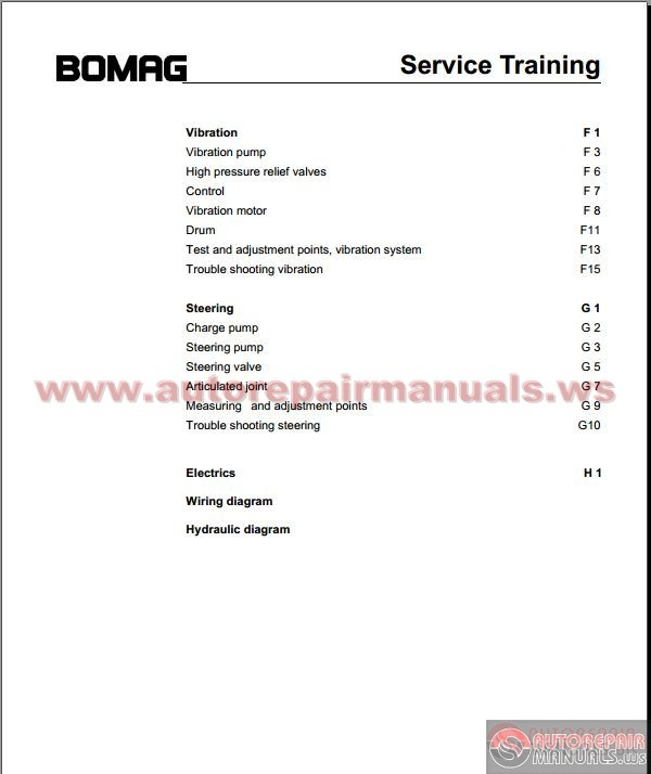 Bomag BW216-219DH-4 Service Training Manual