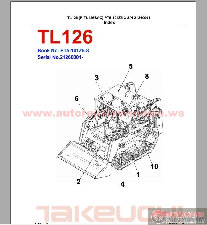takeuchi tl126 pt5 101z5 3 parts manual auto repair. Black Bedroom Furniture Sets. Home Design Ideas