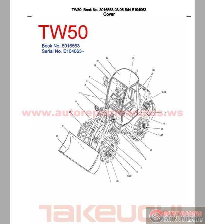 takeuchi tw50 8016563 sn e104063 parts manual auto. Black Bedroom Furniture Sets. Home Design Ideas
