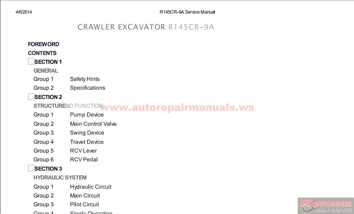Hyundai Crawler Excavators R145CR-9A Service Manual Size: 25mb. Language:  English Type: pdf