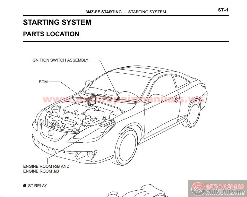 toyota camry solara 2002 2009 39 s factory repair manual auto repair manua. Black Bedroom Furniture Sets. Home Design Ideas