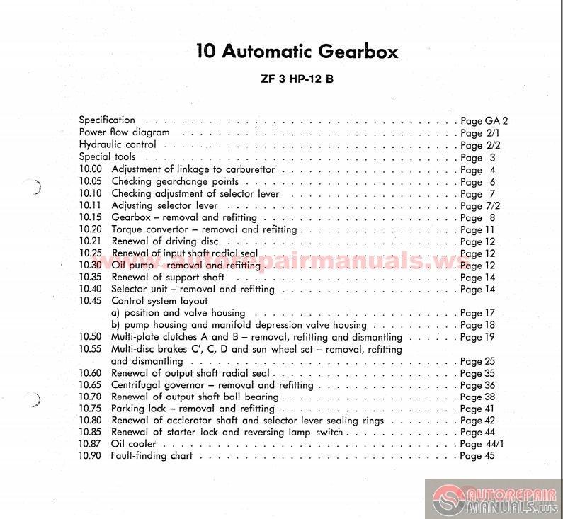 Zf 3hp12  3hp22 Workshop Manual