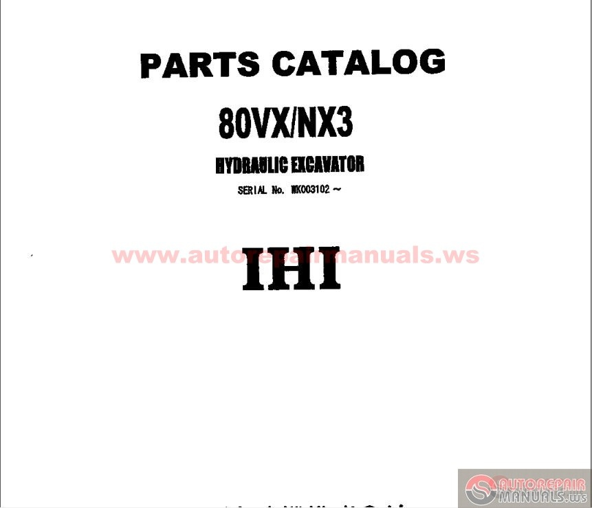 Ihi Hydraulic Excavator 80vx  Nx3 Parts Catalog Part 1