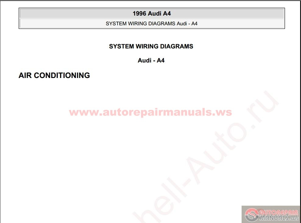 audi a4 1996 system wiring diagrams auto repair manual. Black Bedroom Furniture Sets. Home Design Ideas