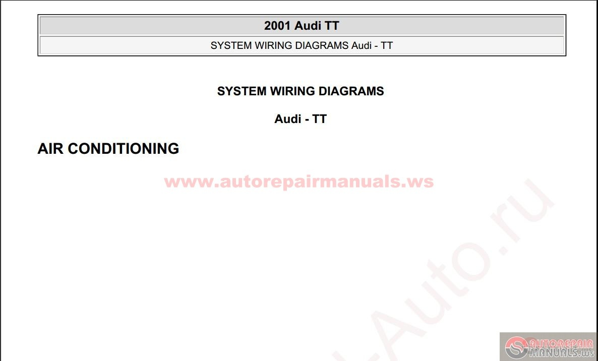 Audi Tt Wiring Diagram Pdf Vivresaville 2001 System Diagrams Auto Repair Manual