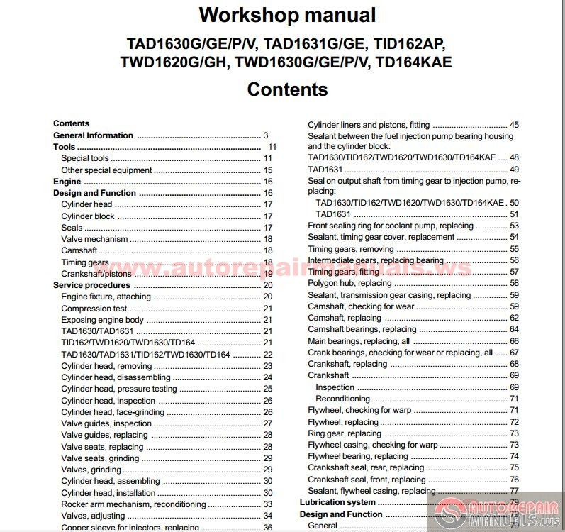 Volvo Engine 16L Workshop Manual | Auto Repair Manual Forum - Heavy Equipment Forums - Download ...