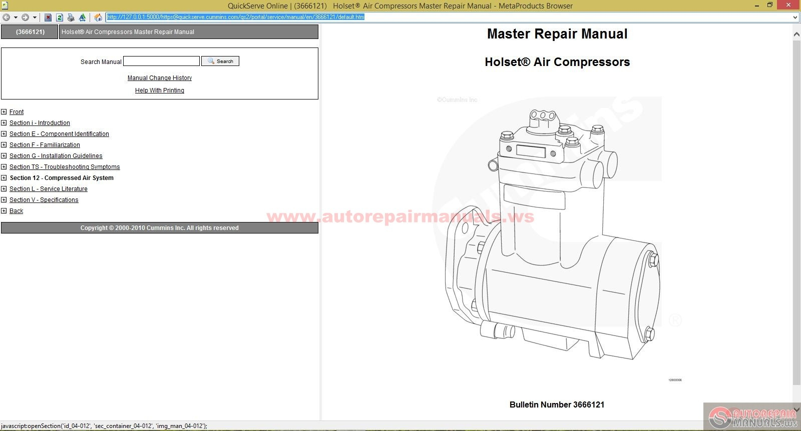 cummins holset air compressors master repair manual