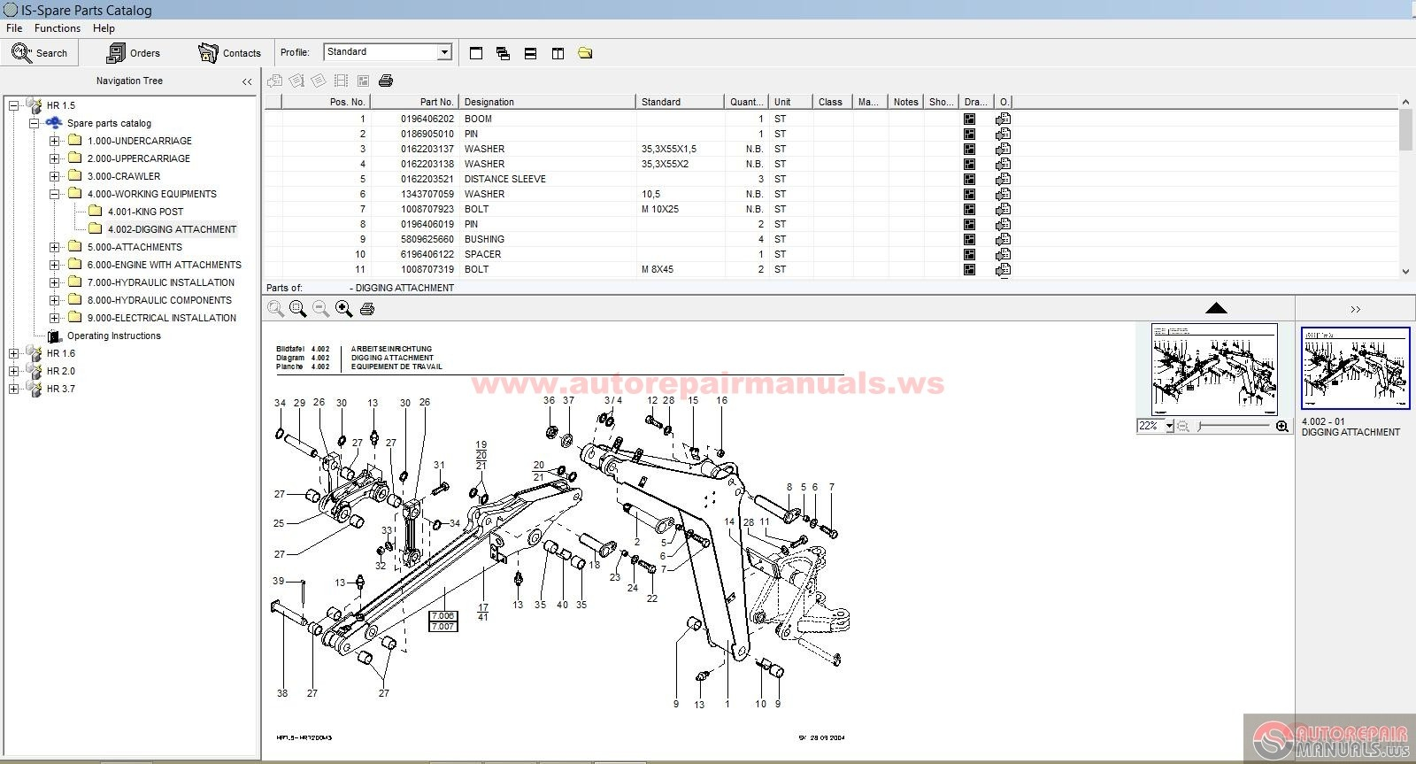 Terex Schaeff Mini Excavator Hr 1 5  1 6  2 0  3 7 Parts