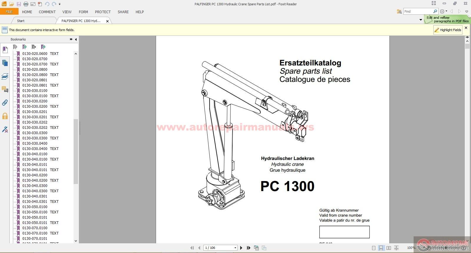 PALFINGER PC 1300 Hydraulic Crane Spare Parts List | Auto Repair Manual  Forum - Heavy Equipment Forums - Download Repair & Workshop ManualAutorepairmanuals.ws