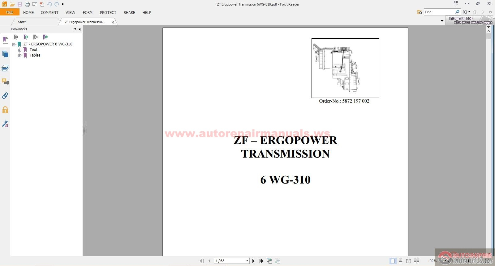 Zf Ergopower Tranmission 6wg 310 Auto Repair Manual