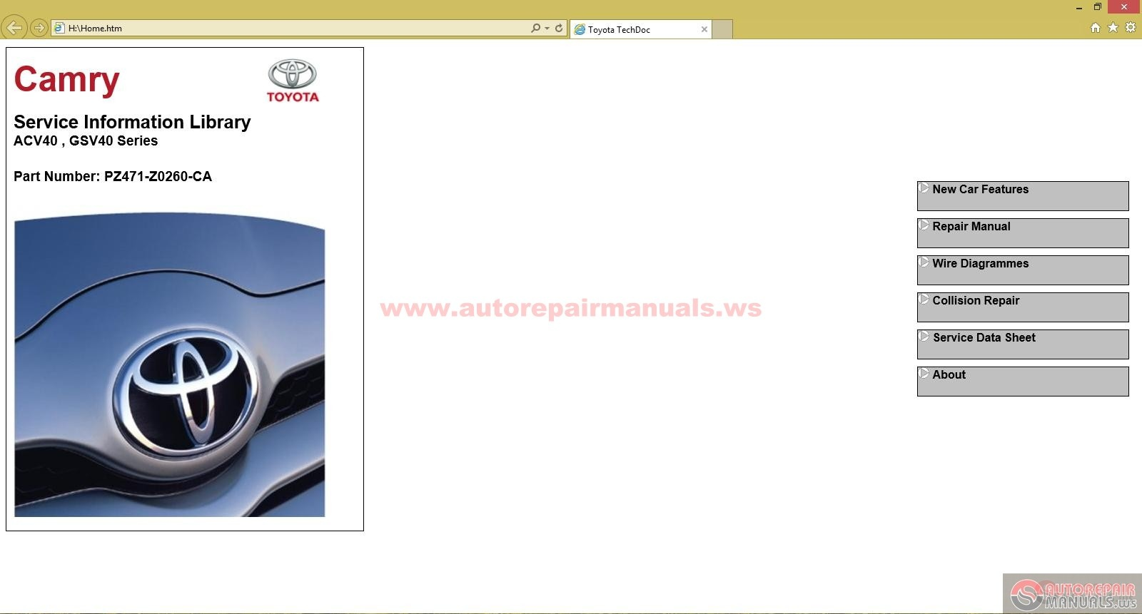 Toyota Acv40 Gsv40 Series Service Information Library