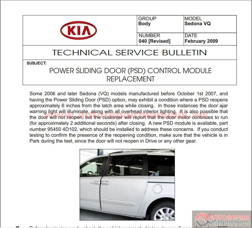 kia sedona vq 2006 2012 technical service bulletin. Black Bedroom Furniture Sets. Home Design Ideas