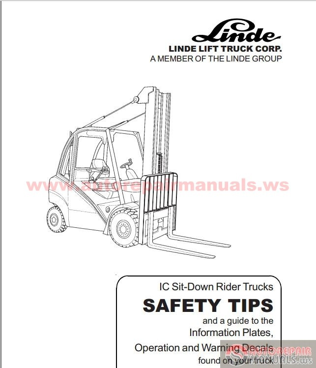 Linde Forklift 35302D Operator Manual SAFETY TIPSElectric and – Linde Forklift Wiring Diagrams