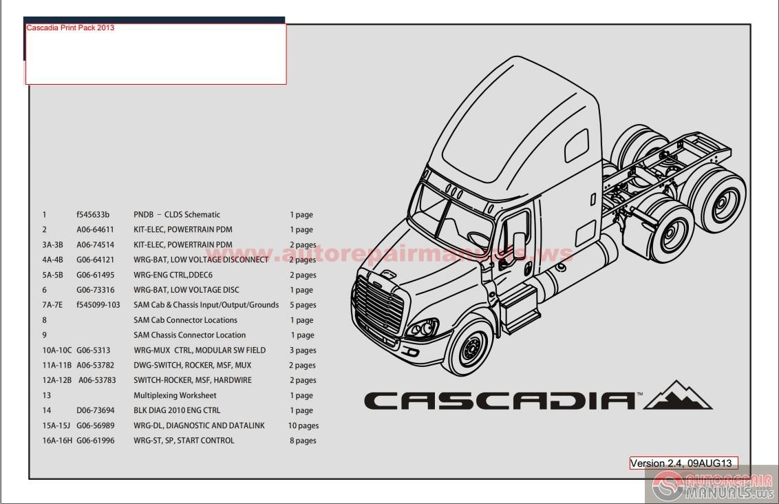 Cascadia Print Pack 2013 Electrical Schematic