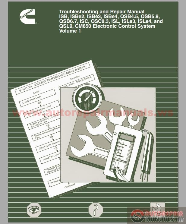cummins isb qsb isc qsc isl qsl cm850 electronic control system troubleshooting and repair Cummins QST30 G2 Cummins QSK50