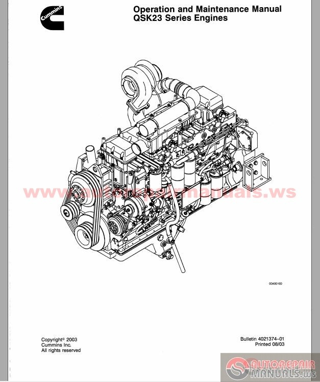 cummins qsk23 series engines operation and maintenance