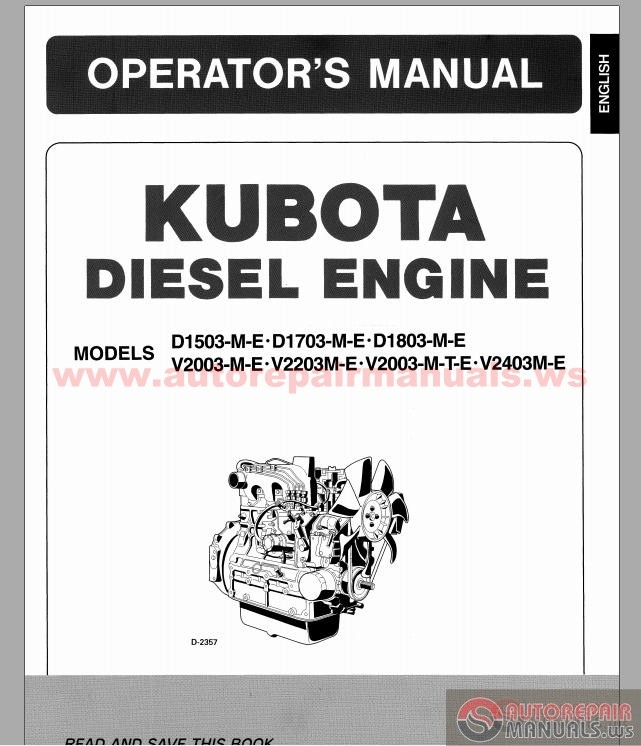 Engine D1503,D1703,D1803,V2003,V2403 Operator's Manual | Auto Repair ...