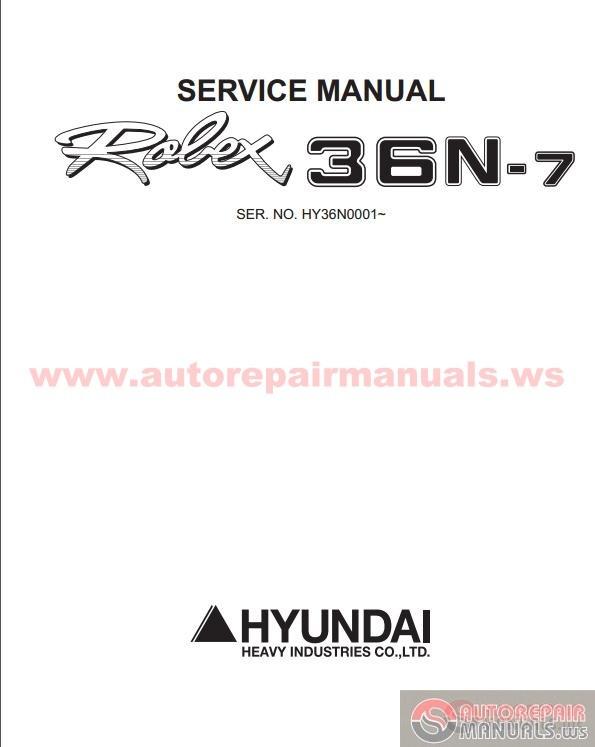 hyundai mini excavators r36n 7sm service manual auto. Black Bedroom Furniture Sets. Home Design Ideas