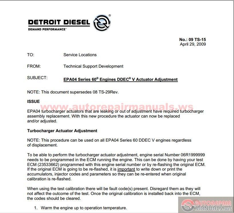 Detroit Diesel - Epa04 Series 60 Ddec V Actuator Adjustment