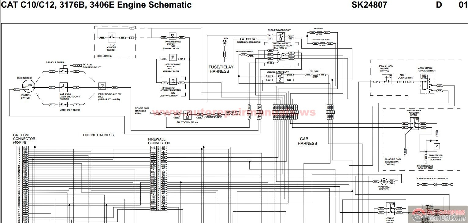 Peterbilt_ _CAT_C10_C12_3176B_3406E_Engine_Schematic_ _SK24807 caterpillar c12 manual 100 images cat c10 and c12 engine specs 3406 cat engine wiring diagram at edmiracle.co