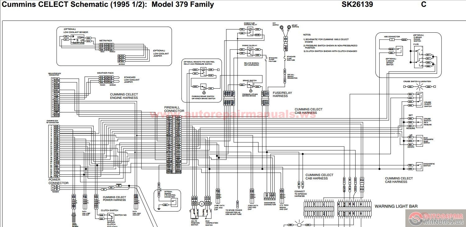 peterbilt pb379 cummins celect schematic 1995 12 sk26139 auto repair manual forum