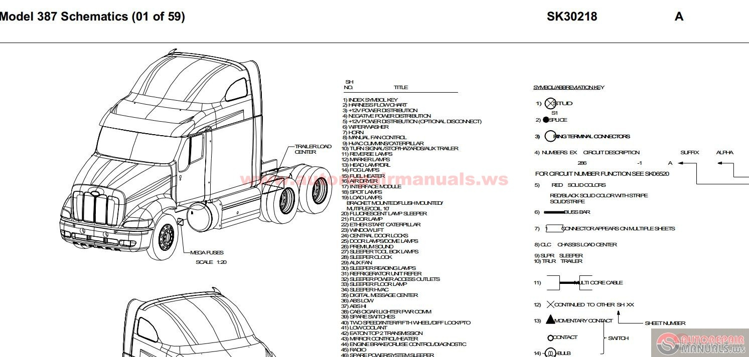 peterbilt pb387 model 387 schematics sk30218 auto