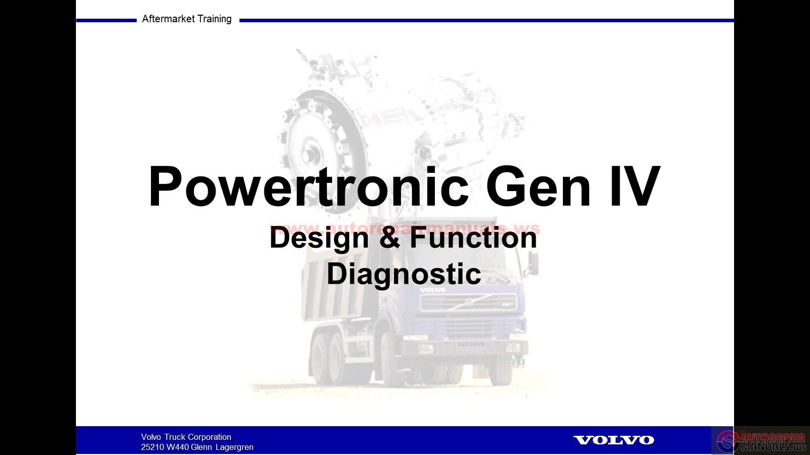 Volvo Powertronic Gen Iv Design  U0026 Function Diagnostic W508
