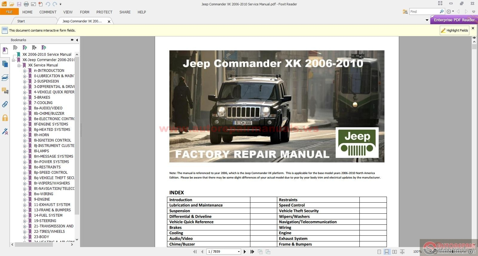 Jeep Commander Xk 2006-2010 Service Manual
