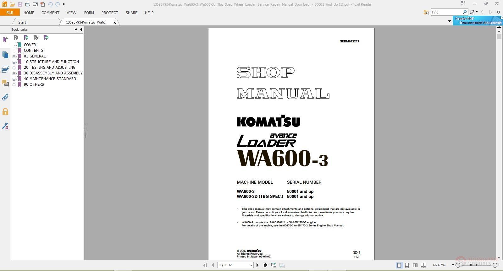 More the random threads same category: Shop Manual Komatsu Wheel Loader ...