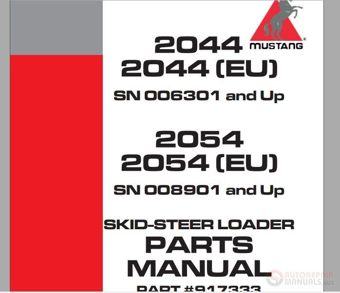 mustang 2044,2044 (eu),2054,2054 (eu) skid steer loader parts manual 1996 Mustang Skid Loader