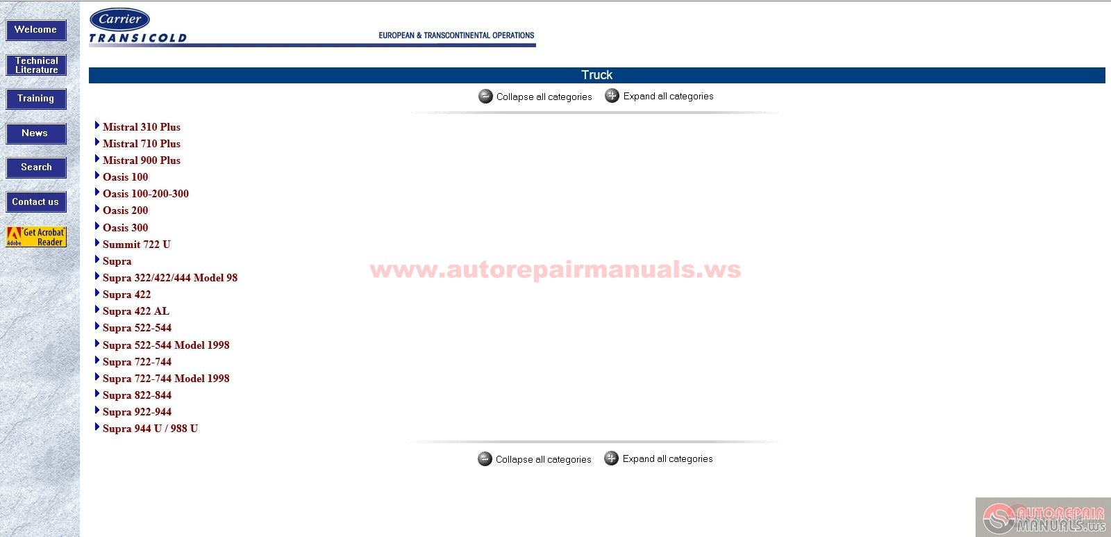 Carrier Transicold Parts Manual