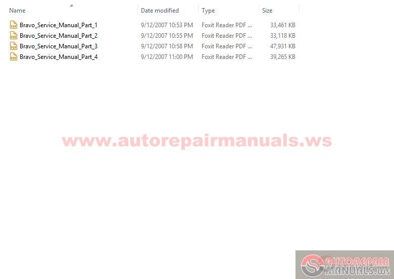 Fiat Bravo -brava Workshop Manuals 1996