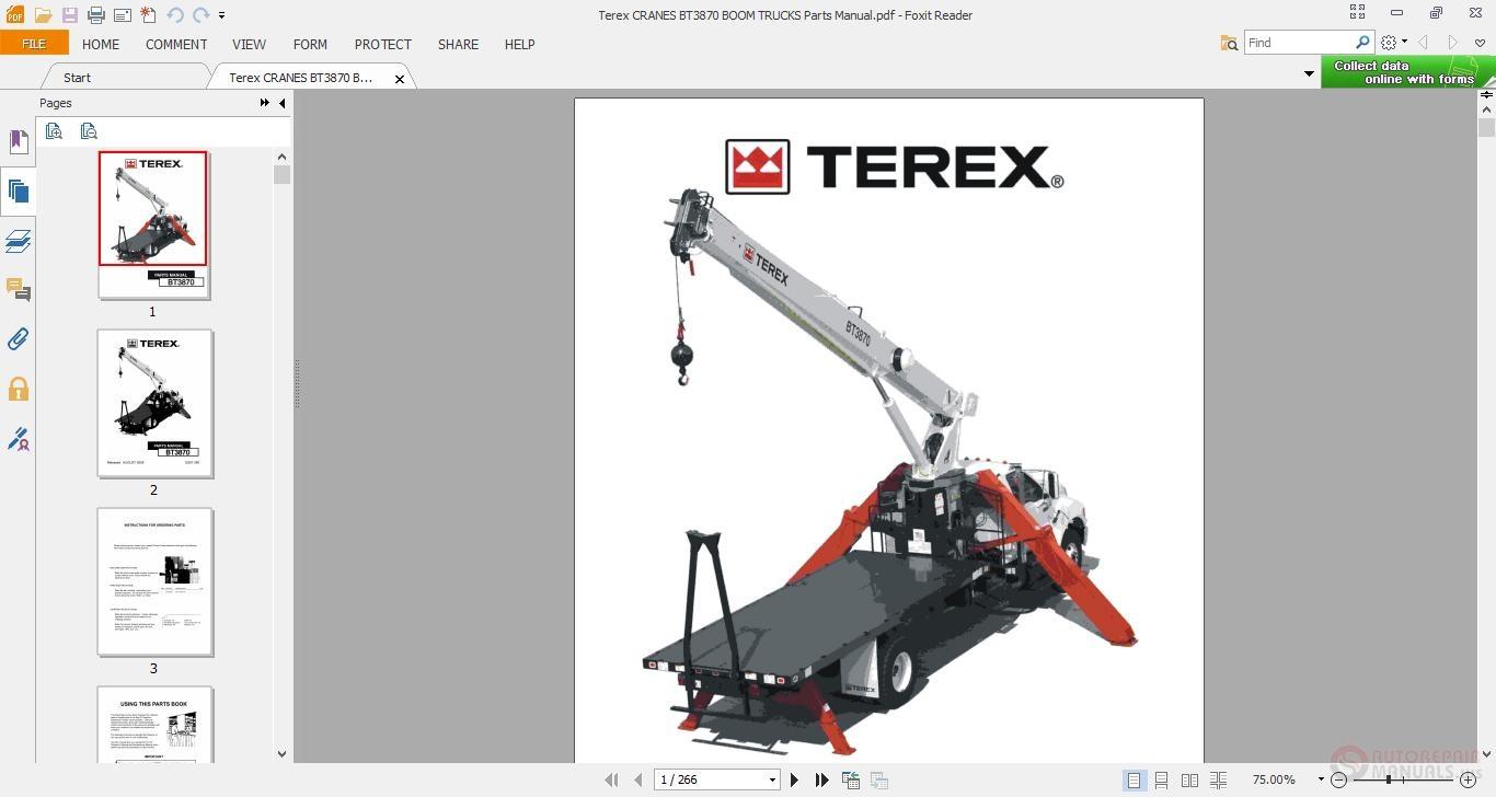 Terex CRANES BT3870 BOOM TRUCKS Parts Manual | Auto Repair
