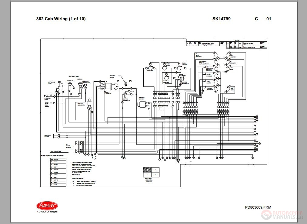 Peterbilt_ _PB362_Cab_Wiring_Schematic_SK14799 1995 peterbilt 379 wiring diagram peterbilt body diagram \u2022 wiring peterbilt 379 fuel gauge wiring diagram at bayanpartner.co