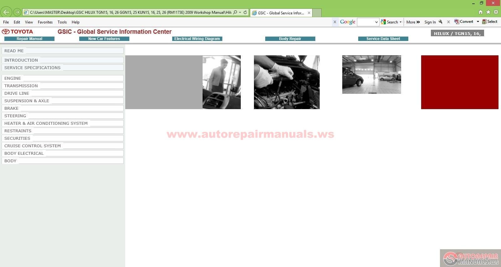 Gsic Hilux Tgn15  16  26 Ggn15  25 Kun15  16  25  26  Rm1173e  2009 Workshop Manual