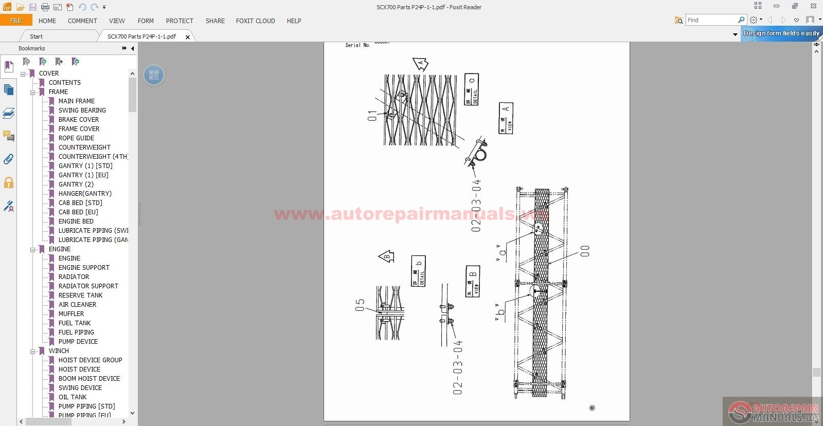 Hitachi Sumitomo Crawler Crane Scx700 Parts Manual
