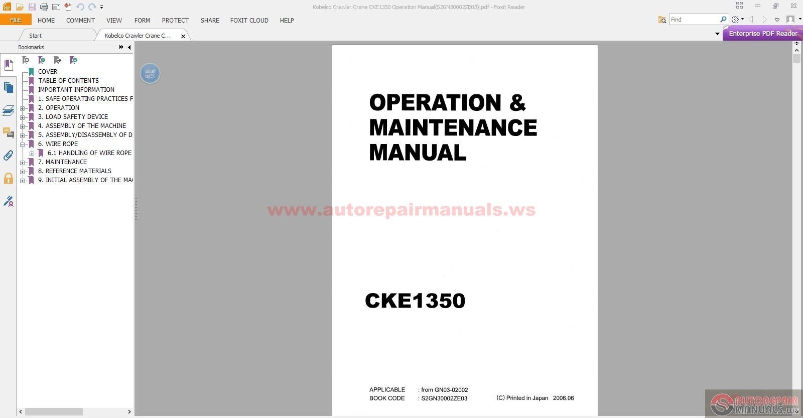 Kobelco Crawler Crane CKE1350 Operation Manual – Operation Manual