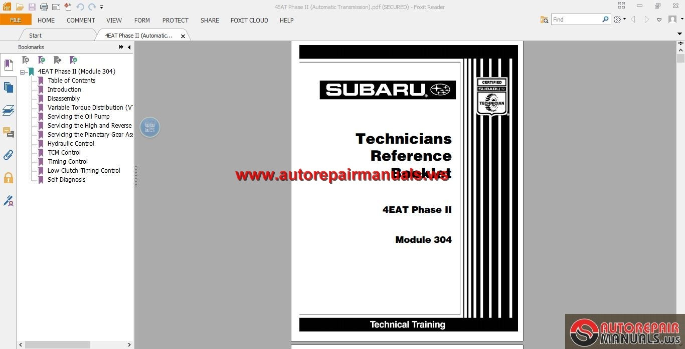 Subaru Technical Training Manual