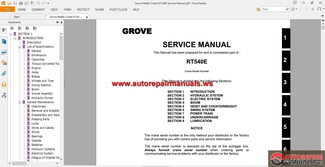 Grove Mobile Crane Rt540e Service Manual Auto Repair