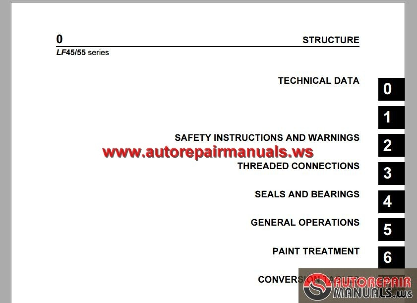 DAF LF45, LF55 Series Workshop Manual | Auto Repair Manual ... on