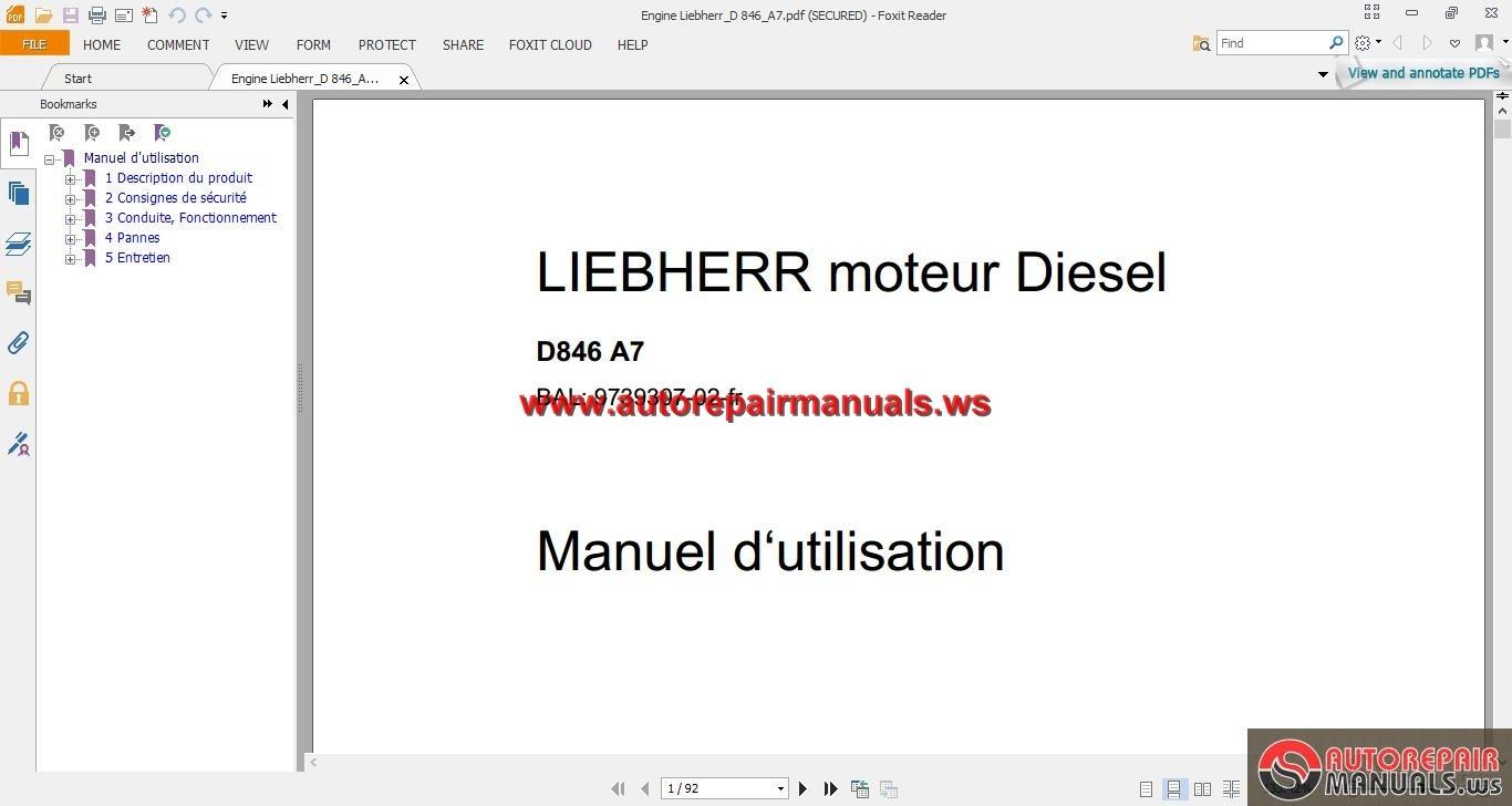 Liebherr Diesel Engine D846 A7 Maintenance Manual