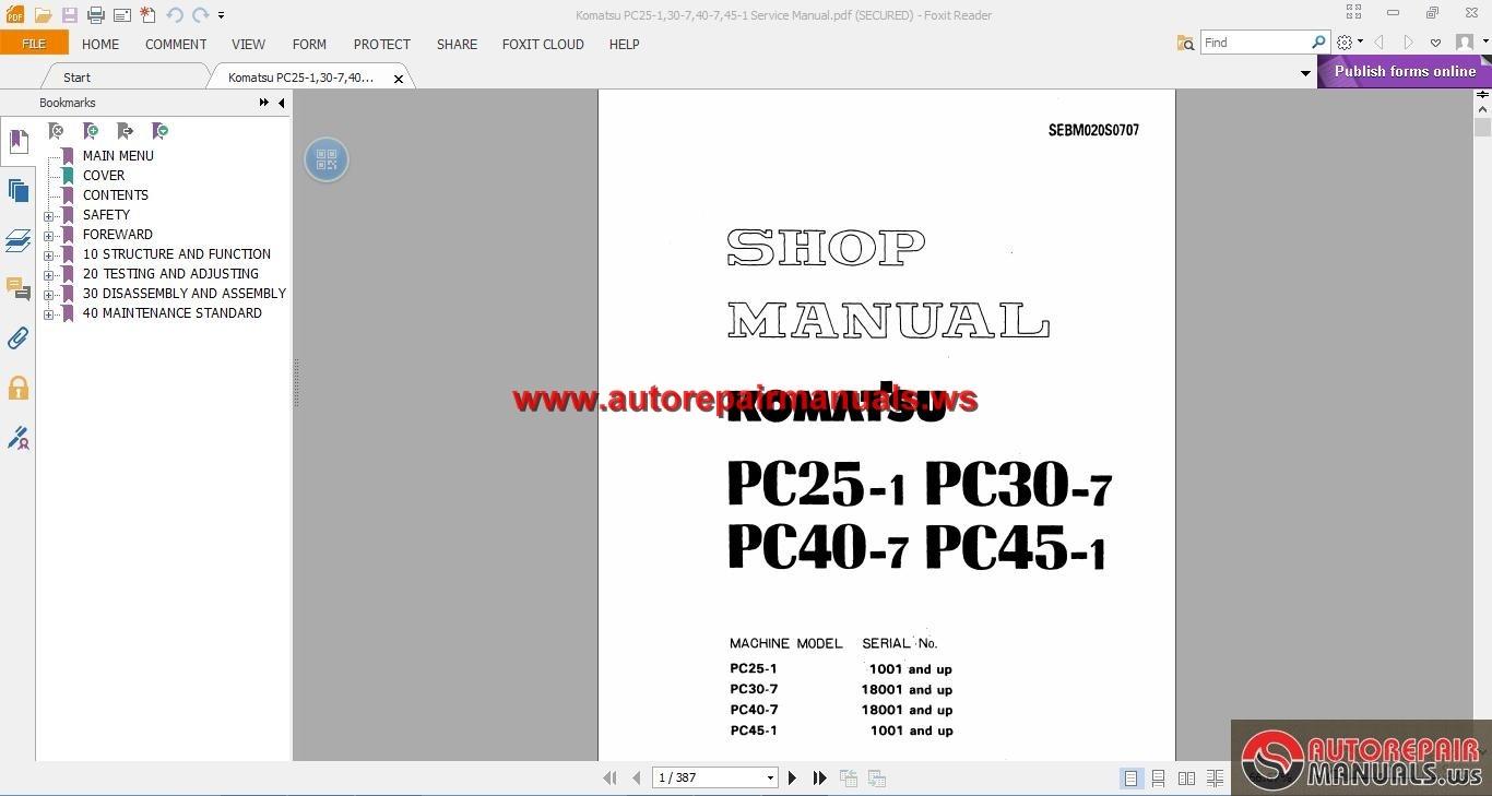 Komatsu Pc25 1 Pc30 7 Pc40 7 Pc45 1 Shop Manual border=