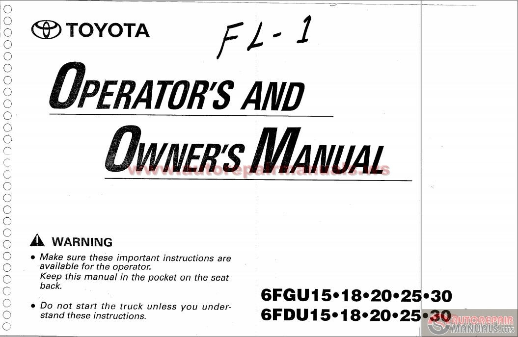 Toyota Forklift 6fgu15 Operators And Owners Manual on toyota truck parts catalog