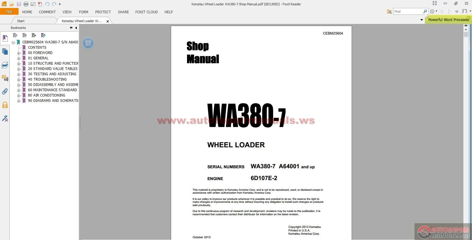 komatsu wheel loader wa380 7 shop manual auto repair. Black Bedroom Furniture Sets. Home Design Ideas