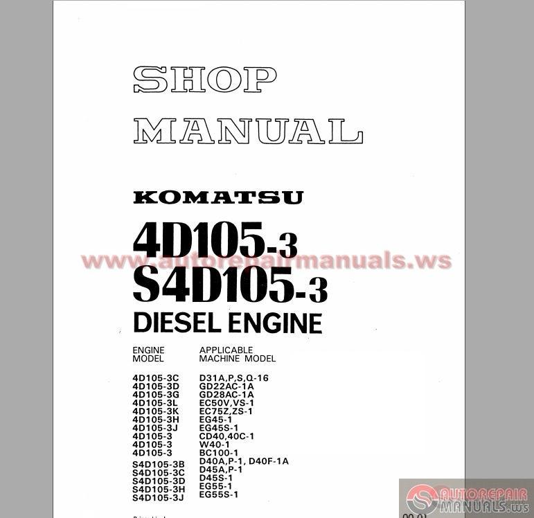 komatsu 4d105 3 s4d105 3 series diesel engine shop manual. Black Bedroom Furniture Sets. Home Design Ideas