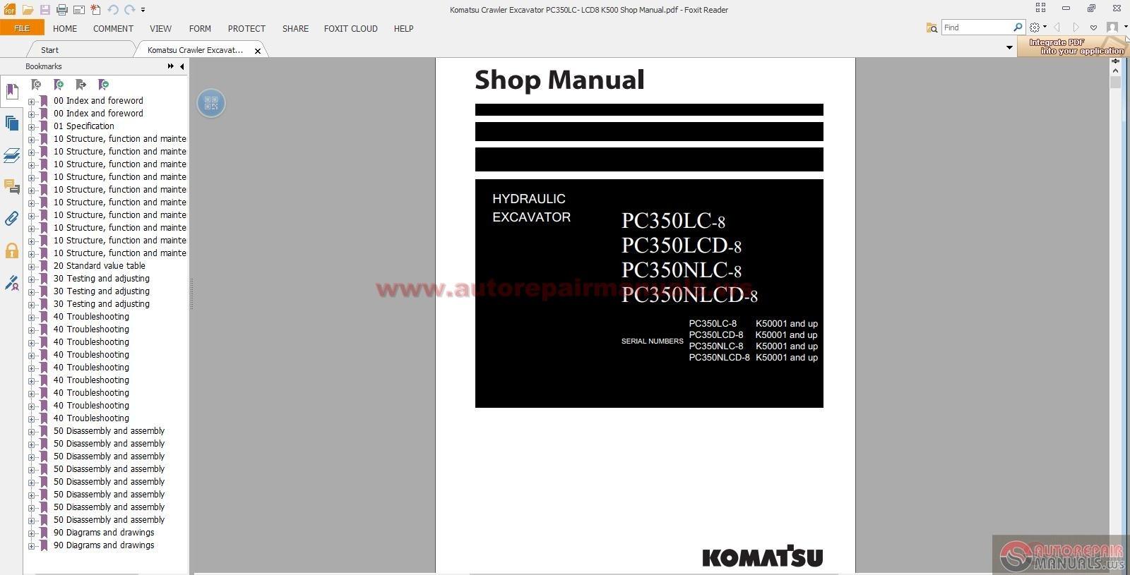 Komatsu Crawler Excavator Pc350lc Lcd8 K500 Shop Manual