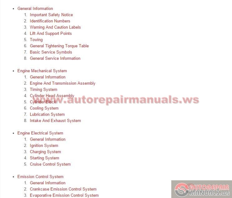 engine service manual free download