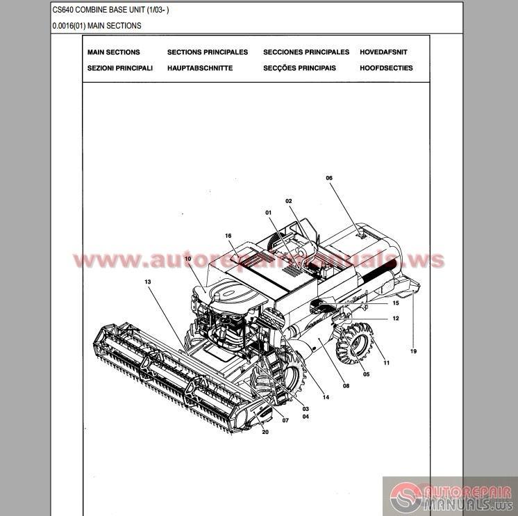 New Holland Cs640 Combine Parts Catalog